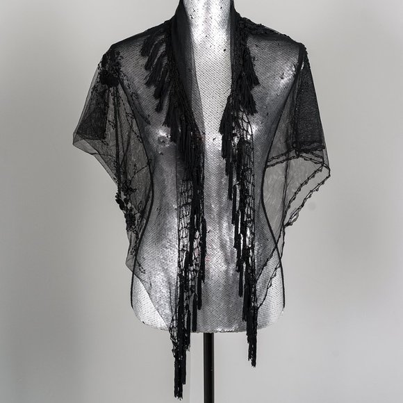 Embroidered sheer evening shawl